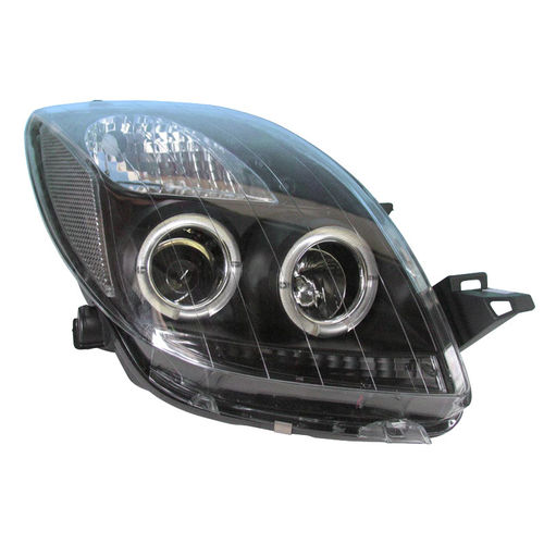 Koplampen Toyota Yaris 2006-2011 Angel Eyes Zwart