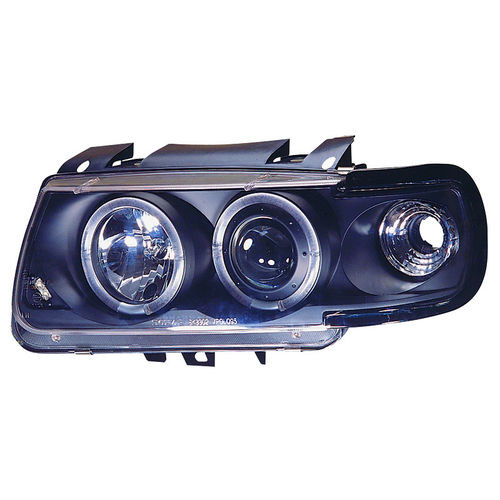 Koplampen VW Polo 6N 1995-1999 Angel Eyes Zwart