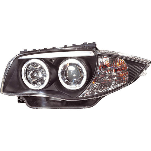 Koplampen BMW 1-Serie E81/E87 2004-2011 Angel Eyes Zwart