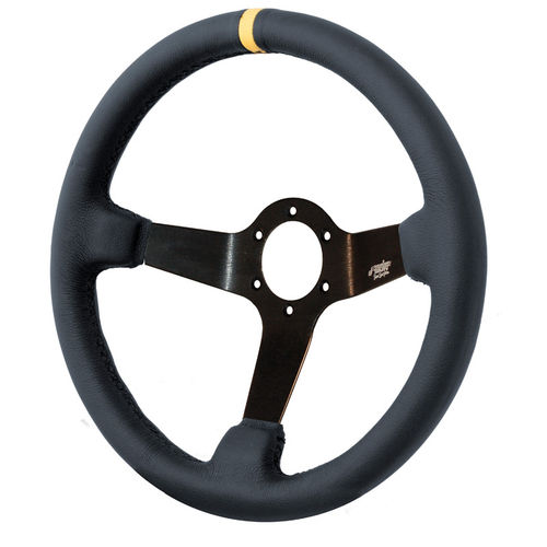 Simoni Racing Sportstuur Carrera 350mm - Zwart Leder (Deep Dish - 95mm)